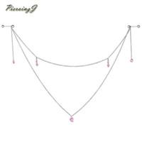 cadena de barra de perforación al por mayor-PiercingJ Pink Hearts Anillos de pezón colgantes hechos a mano Nipple Chain Barbell 14G 5/8