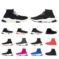 erkekler beyaz ayakkabı moda toptan satış-balenciaga Hız eğitmen 2019 Yeni Çorap erkekler kadınlar için ayakkabı Yeşil Siyah Beyaz Kırmızı Pembeler moda sneakers yürüyüş rahat ayakkabı boyutu 36-45