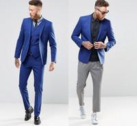 blaue, schmal geschnittene anzugsbilder großhandel-Blaue Farbe Gentle Man Smoking Anzüge Echt Bild Hübscher Bräutigam Anzüge One Button Slim Fit Hochzeitsanzug Für Männer Anzug (jacke + Pants + Weste)