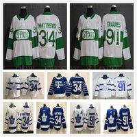 çocuk hokeyi mayo toronto toptan satış-Aziz Pats Pattys Gün Toronto Maple Leafs Hokeyi Formalar Yeşil 34 Matthews 91 Tavares Jersey Mavi Beyaz Mens Çocuk Gençlik Kadınlar