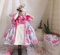 grande robe à manches bouffantes achat en gros de-Fille Enfants vêtements de marque Dress style Espagne sans manches à col rond fleur rose avec gros noeud rose Tank Dress Summer Princess Party Dress