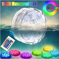 akülü uzaktan kumandalı ışıklar toptan satış-10 LED Uzaktan Kumandalı Sualtı Işık IP68 Su Geçirmez RGB Renkli Akülü Dalgıç Vazo Dekorasyon Havuz Lambası