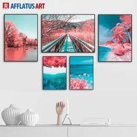 ingrosso pittura cielo rosso-Red Coconut Tree Forest Sea Beach Sky Wall Art Print Canvas pittura nordica Poster e stampe Foto parete per Soggiorno