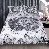 Wholesale heart bedding king size online - Gothic Cool Kissing Skull Heart Flower pattern Wedding bedding set duvet Cover with pillowcase Twin full Queen King size