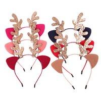 couvre-chef rose achat en gros de-Glitter Antlers Fête Bandeau Filles Enfants DIY Petit Cerf Corne Chapeaux Fête De Noël Accessoires De Cheveux Parti Supplie en gros