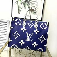 Wholesale large designer beach bags resale online - Large leather handbag Designer Shoulder Bag Contrast Color Beach bags Genuine shopping bag fashion print travel handbags