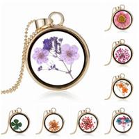 kurutulmuş çiçekler cam kolye toptan satış-Kolye Kolye Moda Pretty Romantik Kristal Cam Yüzer Locket Kurutulmuş Çiçek Bitki Kolye Zincir Kolye Çiçek Locket Kolye