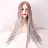 волосы черные большие волны оптовых-парик Европе и Америке парик новые дамы длинные вьющиеся волосы микро-объем в большой волне черный серый крашение градиент химического волокна волос