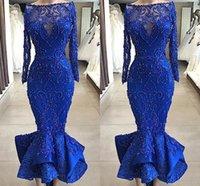 ingrosso breve vestito da sera dell'increspatura dell'increspatura-Immagini reali di lusso Royal Blue Mermaid Prom abiti da sera Bateau collo perle di perline vestitino corpetto arruffles caviglia abiti da cocktail corto