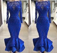 blaue mieder kurze kleider großhandel-Real Images Luxus Royal Blue Mermaid Prom Abendkleider Bateau Neck Perlen ausgestattet Mieder Rüschen knöchellangen kurzen Cocktailkleider