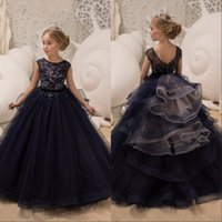 Wholesale navy dress 2t resale online - Dark Navy Jewel Neck Capped Sleeves Princess Flower Girl Dresses For Wedding Lace Applique Tulle Girls Pageant Gowns For Birthday