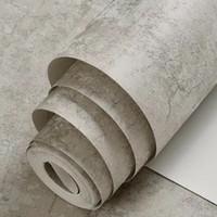 huş ağacı toptan satış-Sıkıntılı Açık Gri Duvar Kağıdı Sıva Tarzı Eski Çatı Duvar Kağıdı Çimento Etkisi Beton Duvar Kaplamaları