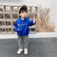 Wholesale embroidery clothes for kids resale online - Champion Embroidery Letters Kids Cotton Hoodie Brand Long SLeeve Sweatshirt Boy Girls Pullover Coat For Y Children Autumn Clothing B81202