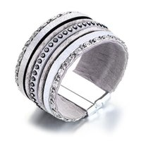 bracelete de pulseira de couro de strass venda por atacado-35mm de largura das mulheres de cinza cheio de tênis de couro pu pulseira de pulso pulseira strass incrustação