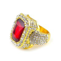 anillo de roca roja al por mayor-Vintage hombres mujeres Hiphop anillo de aleación negro / rojo / azul piedra anillo Rock moda hombre CZ anillo de dedo joyería