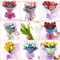 flores postales al por mayor-Tarjetas de felicitación para el día de la madre Tarjeta postal 3D POP UP Flor de agradecimiento Invitación de feliz cumpleaños de MOM Regalos personalizados Papel de boda