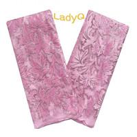 ingrosso tulle rosa baby-Aso Ebi 2019 Tulle Lace Tessuti Baby Pink Tessuto africano di alta qualità in pizzo con materiali in velluto di sequenza Tessuto nigeriano in pizzo