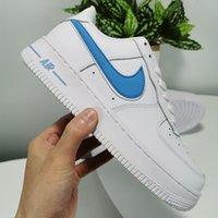 erkekler beyaz ayakkabı moda toptan satış-Ucuz erkekler kadınlar moda tasarımcısı sneakers af1 ayakkabı tüm beyaz siyah kuvvetler 1 bir düşük kırmızı mavi yüksek kalite çevrimiçi