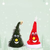 Wholesale swings for trees resale online - Christmas Singing Electric Hat Hats Santa Hats Children Adult Boys Girls Cap Swing Tree Ornaments Cap For Christmas Party Props