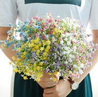 blumendekoration für zu hause großhandel-Kreative Künstliche Blumen Bunte Gypsophila Langen Stiel Gefälschte Blumen Bouquet Atem Seidenblume Hause Hochzeitsdekor TTA1623