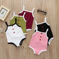 Wholesale newborn baby girl twins resale online - Cotton Baby Girls Clothes Summer Sleeveless Baby Bodysuit Twins Newborn Romper Clothes For Boys Jumpsuit Month