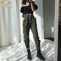 ingrosso jogger pantaloni donne esercito-Pantaloni a vita Capris Camouflage allentati jogging Army Donne Harem Pants Camo Streetwear nero punk Cargo Pants Alte donne di alta Pantaloni