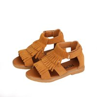 Wholesale baby girls footwear sandals resale online - Tassel Girls Sandals Cow Leather Children Fashion Baby Suede Kids Shoes Summer Footwear Hook Loop
