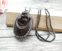 cadena de madera de buda al por mayor-4 unidades Collar de cadenas de perlas de hematites, madera Maitreya Buddha Head colgante de la joyería collares para mujeres NK303