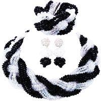 свадебные наборы из танзанита оптовых-Прямая продажа Черный прозрачный мода партия и фестиваль вечер женщины Кристалл ювелирные изделия Sets12C-BZ-06