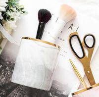 Wholesale makeup brush cups for sale - Group buy DHL Pen Holder Stand for Desk Marble Pattern Pencil Cup for Durable Ceramic Desk Organizer Makeup Brush Holder for Office cm