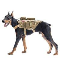 conjunto de roupas para cães venda por atacado-Cão Militar tático Colete Arnês Set com Bolsa Molle Pet Roupas Jaqueta Ajustável Nylon Grande Cão Patrulha Equipamentos Frete Grátis