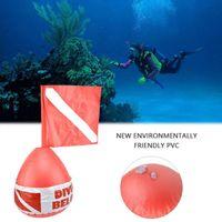 şişirilebilir pozisyon toptan satış-PVC Şamandıra Topu Ağız Şişirme Tipi Tüplü Dalış Şamandıra Dalış Şişme Deniz Yüzey Işaretleyici Yüksek Görünürlük Konumlandırma Uyarı Sinyali