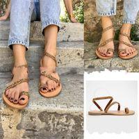 têtière en strass achat en gros de-Summer Beach Sandals Toe Chaussures Plates Femme Grande Taille Chaussure Strass Caoutchouc Matériau Tête Ronde Résistant à lusure 25ht C1