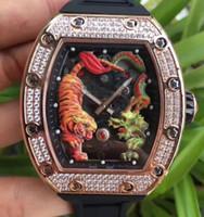 vis de montres achat en gros de-Top Marque De Luxe Hommes Sport Montre Spline Vis Rose Or Inoxydable Diamant Lunette Couleurs Tigre et Dragon Squelette Automatique Hommes Montre