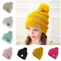 Wholesale baby hats for sale - Group buy Kids Knit Cap Children Winter Fur Hat Girls Boys Fur Pom Pom Ball Baby Beanies Cap Kids Crochet Knitted Hats Colors