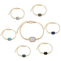 pulseira imitação china venda por atacado-6 cores resina drusy pulseira de luxo imitação de pedra de cristal druzy pulseiras de ouro marca de jóias para as mulheres