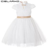 Wholesale collar designs for wedding dresses online - Cielarko Kids Dress For Girl Princess Big Bow Elegant Dresses White Gold Flower Girls Wedding Party Dress Fancy Design Collar J190521