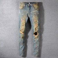 mens algodão motocicleta calças venda por atacado-Mens Rasgado Plissado Patchwork Jeans Moda Retro Calças Lápis Diária Motociclista Calças de Estiramento Com Zíper de Algodão Jeans Da Motocicleta Jeans TTA625