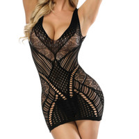 calcinha transparente para mulheres venda por atacado-Camis Mulheres Malha Transparente Bodystockings Bodycon Sexy Roupa Interior Vestido Não-Ajustado Correias de Fio Livre Lace Oco Out # 6