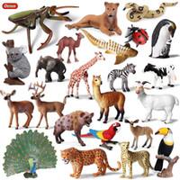 ingrosso animali da miniera giocattolo-mucchio Action Toy Figure Oenux Original Wild Animals Leopard Lion Modello Action Figure Alpaca Peacock Spider Figurine Miniature Coll ...