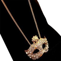 Wholesale charm face mask for sale - Group buy Women Vintage Charm Fox Mask Pendant Steampunk Statement Necklace Novelty Gift Exquisite Crystal Necklace Female