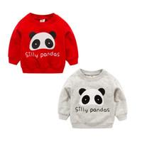детская одежда оптовых-Новорожденные мальчики девочки кофты зима весна осень дети мультфильм Панда с длинными рукавами свитер дети футболка 0-3Т одежда