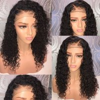 Wholesale wavy wig long curly hair resale online - Human Hair Lace Front Wig Deep Wavy Pre plucked Hairline Deep Curly Full Lace Wig Brazilian Virgin Hair Density Bleached Knots