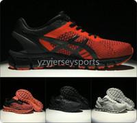 hombres zapatillas de gel al por mayor-Calidad superior Asics Gel-Quantum 360 T728N Hombres de tejer zapatos para correr al por mayor Negro Rojo Original Hombres Mujeres Diseñador Zapatillas 37-45