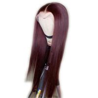 orta bölüm dantel peruk toptan satış-# 99J Tam Dantel İnsan Saç Peruk Düz Brezilyalı Saç Tutkalsız 360 13X6 Dantel Ön Peruk Orta Kısmı 150% Yoğunluk