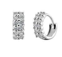 hochwertige aaa schmuck großhandel-Runde Schleife Ohrringe Hohe Qualität Zwei Reihe Tiny AAA + CZ kleine Creolen Für Frauen Schmuck Hochzeitsgeschenke