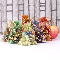 mehrfarbige partytaschen großhandel-Heißer verkauf Multi-Color Organza Schmuckbeutel Luxus Hochzeit Voile Geschenkbeutel Kordelzug Schmuck Verpackung Weihnachtsgeschenk Beutel