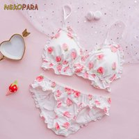 Wholesale strawberry cups resale online - Big Strawberry Cute Japanese Milk Silk Bra Panties Set Wirefree Soft Underwear Sleep Intimates Set Kawaii Lolita Color White