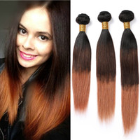 Wholesale brazilian virgin hair wefts for sale - Group buy B Ombre Human Hair Bundles Three Tone Brazilian Virgin Hair Weaves Straight Black Brown to Medium Auburn Ombre Double Wefts