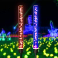 éclairage de tube à bulles achat en gros de-Acrylique Jardin Voie arrière Lampes solaires couleur RGB changement de tube Lampe de pelouse Décorations de pieu durable Bulle extérieure Light Path